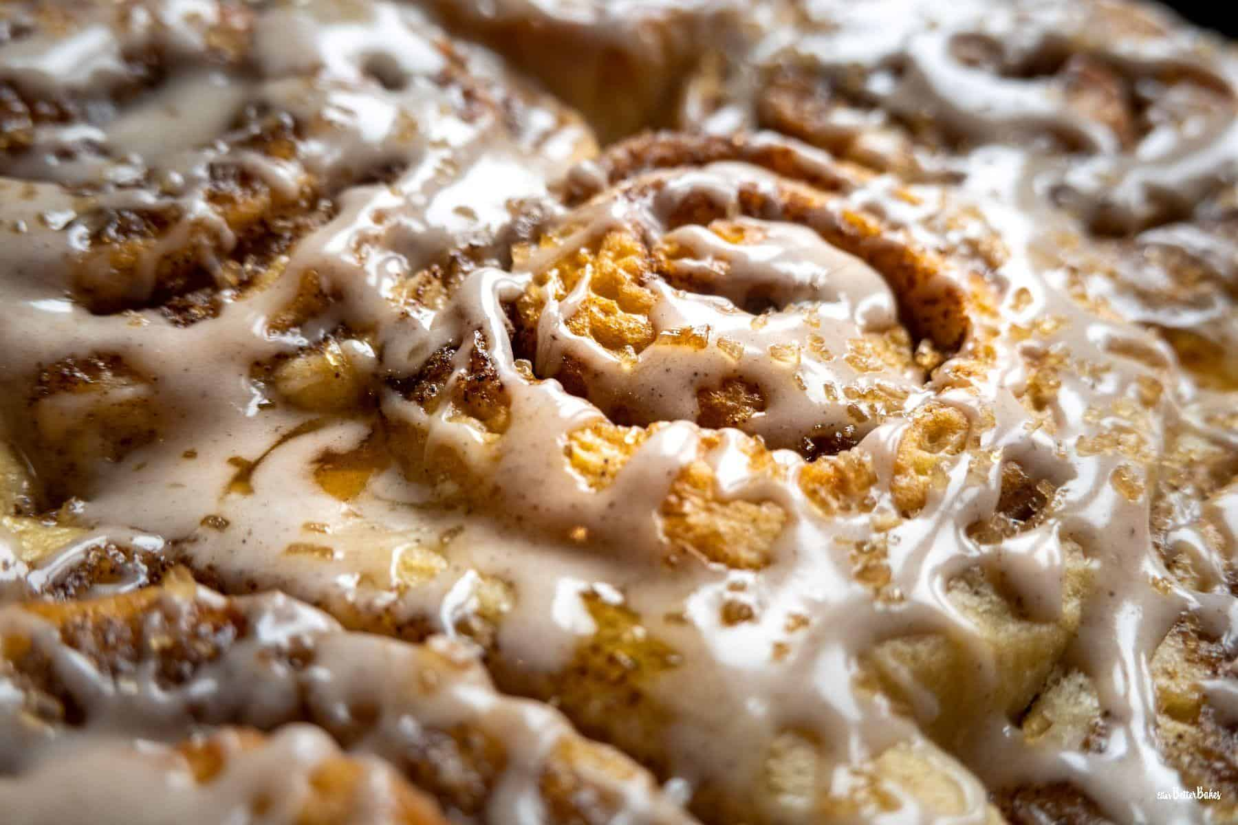 close up of cinnamon buns baked