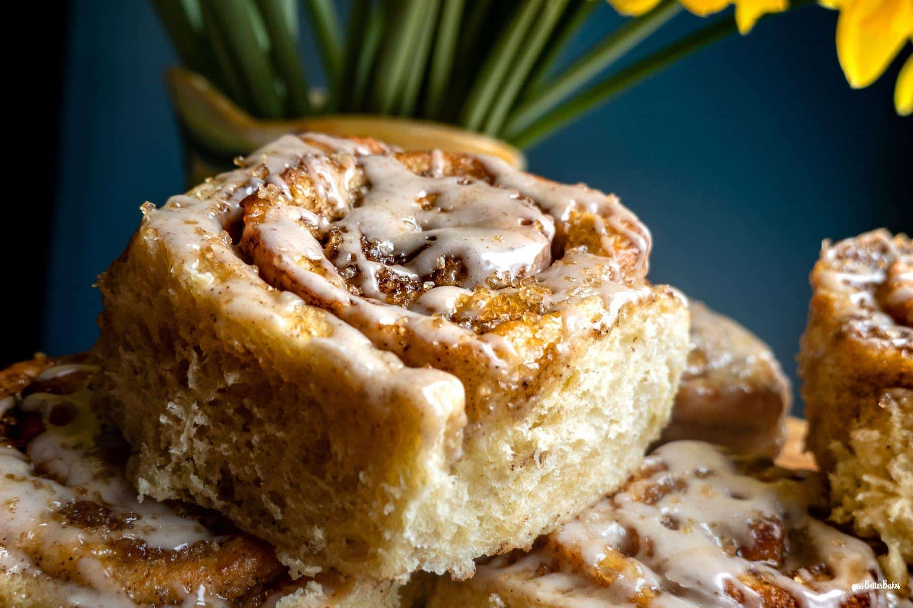 close up of one cinnamon bun