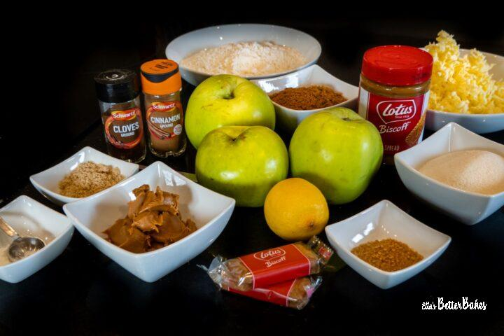 biscoff crumble ingredients laid out