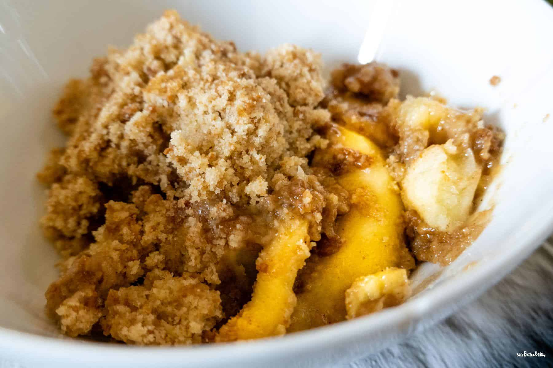 close up of a dish of crumble