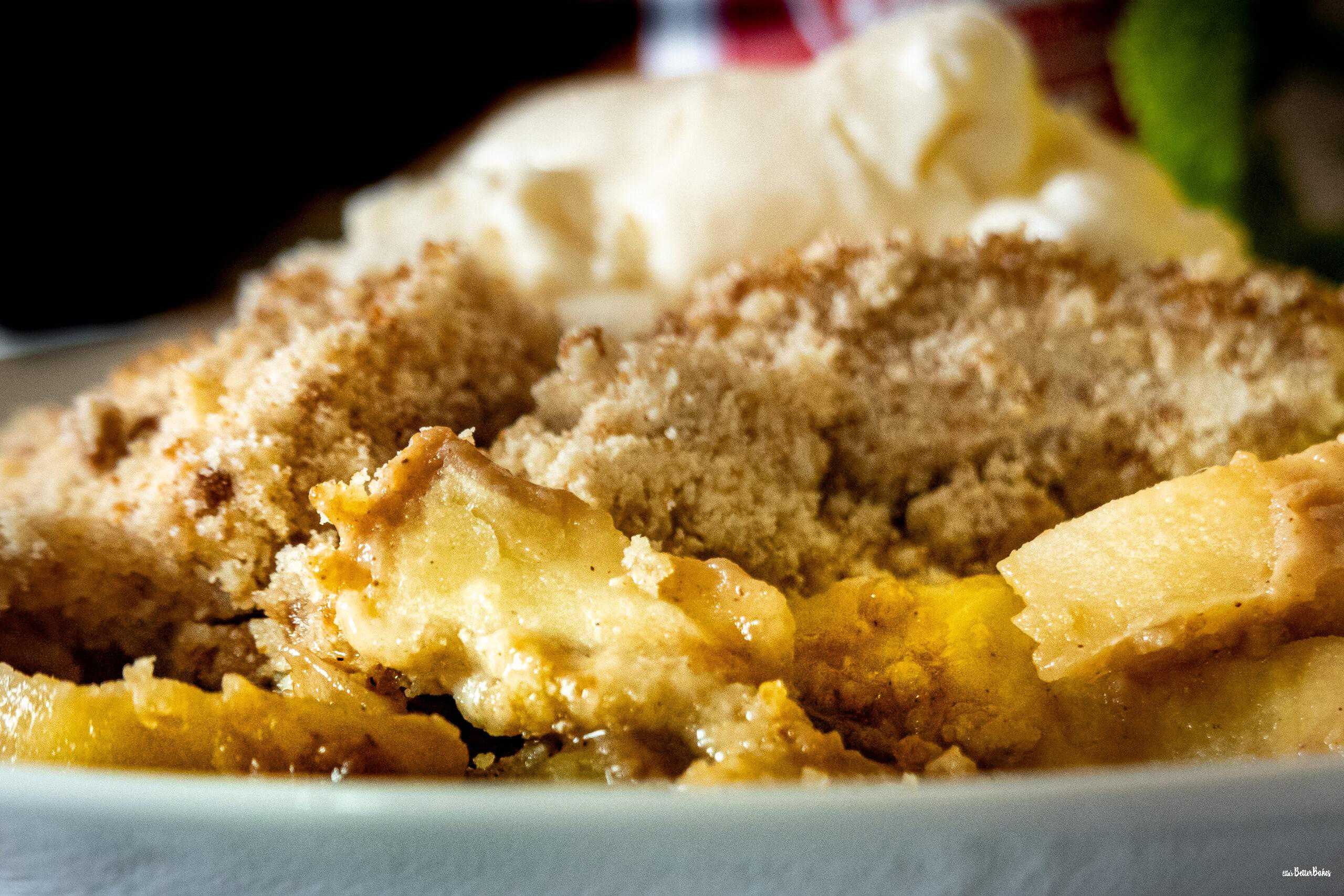 close up a dish of crumble and icecream