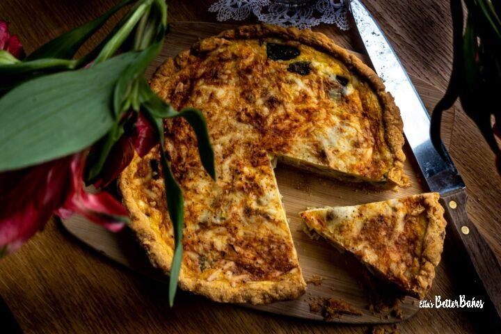 top view of vegetable quiche