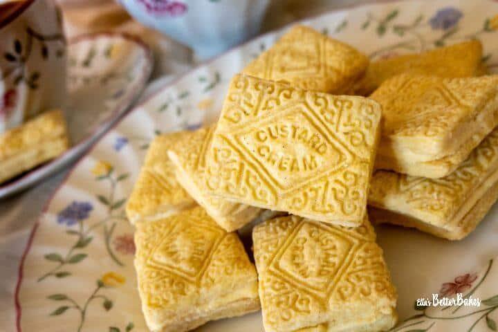 custard creams on a plate