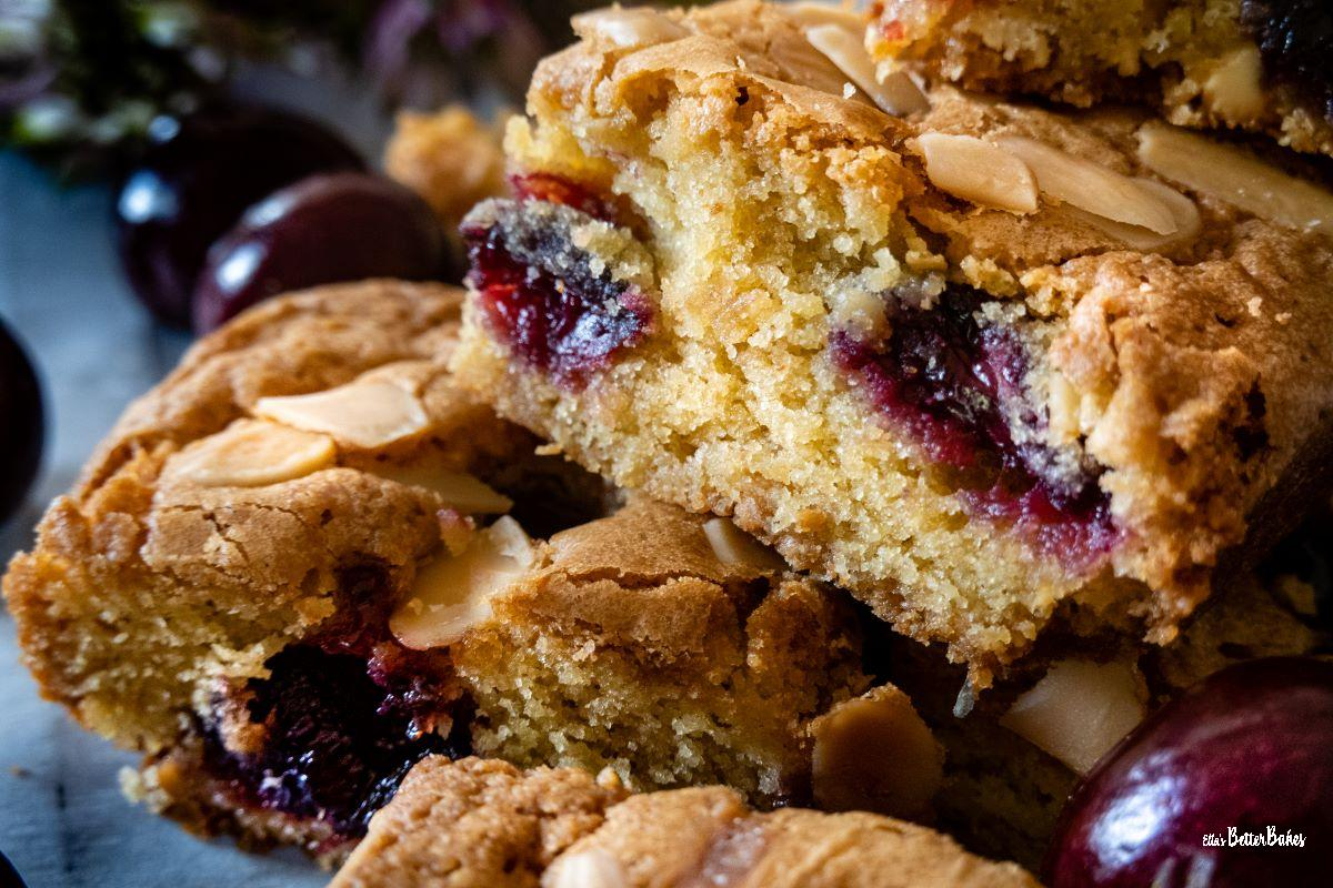close up of cherry bakewell together