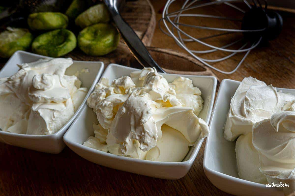 cream cheese and mascarpone in bowls