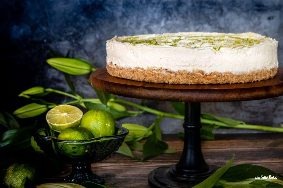 mohito cheesecake on stand