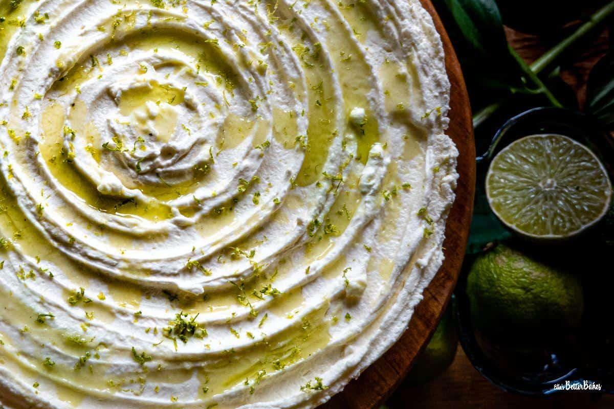 close up of mojito cheesecake