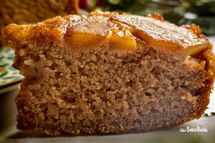 close up of a slice vegan apple cake
