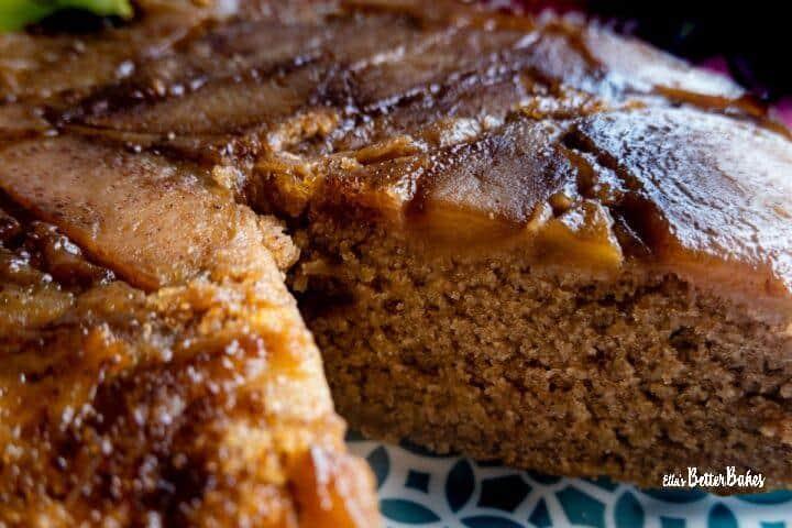 lose up of vegan apple cake cut