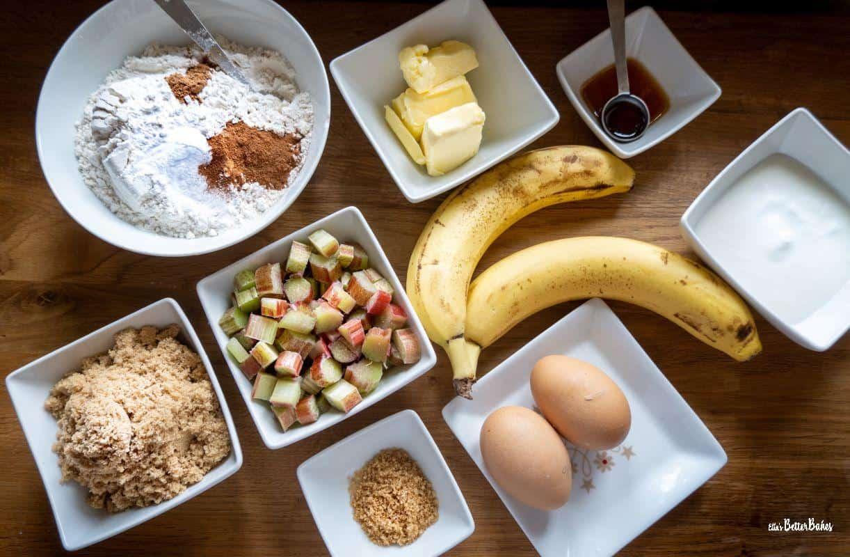 ingredients banana rhubarb muffins