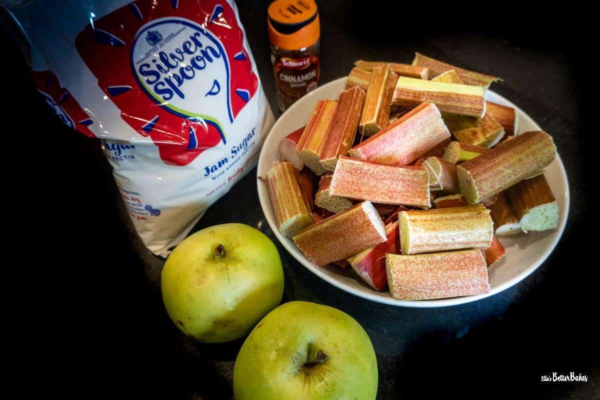 rhubarb and apple jam ingredients