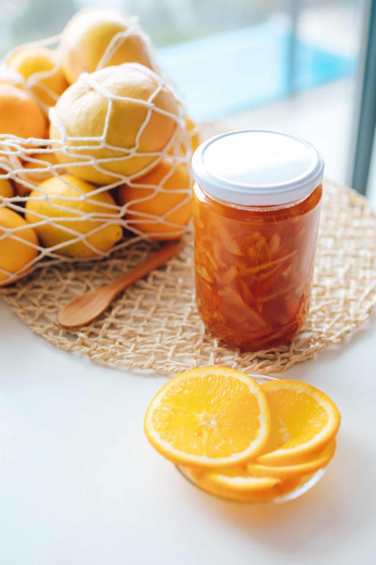 jar of lemon preserve in sterilised glass jars