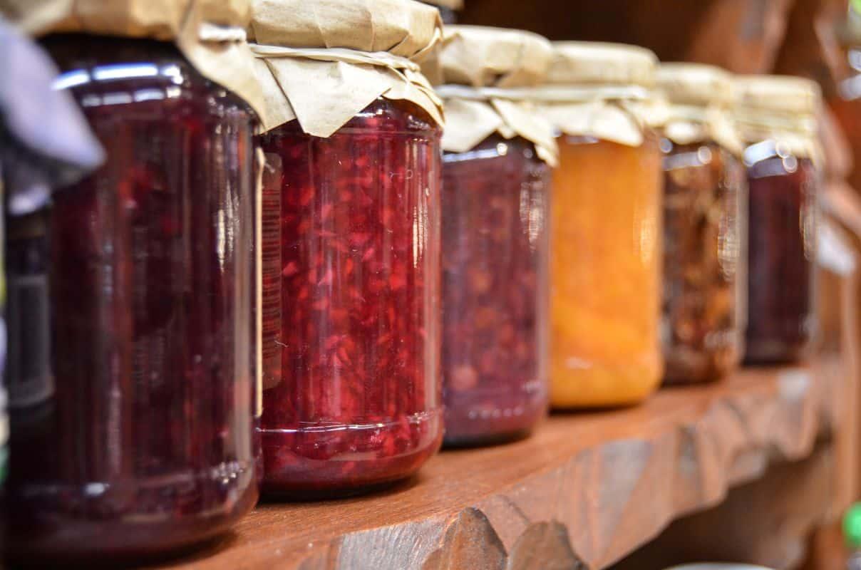 jars of jam in sterilised glass jars