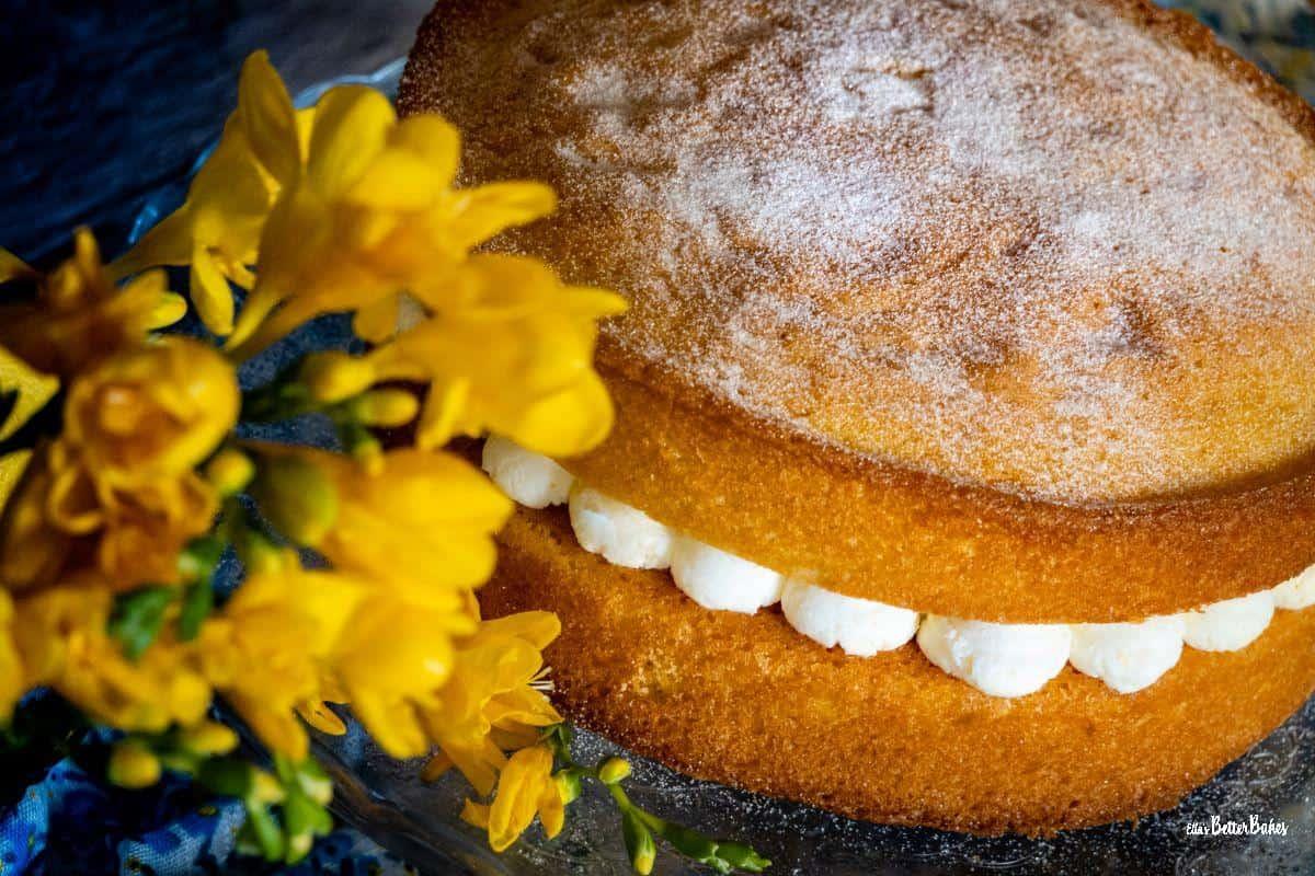 lemon victoria sponge close up