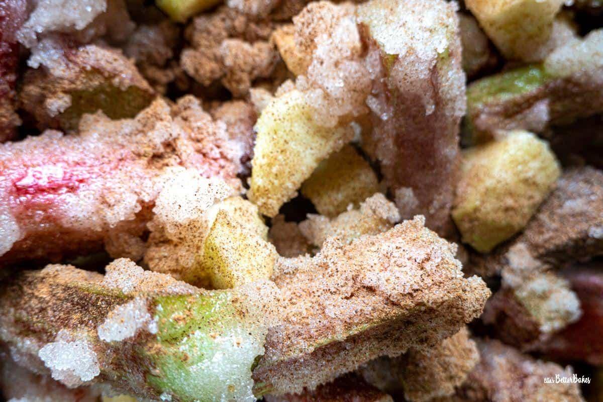 rhubarb coated in sugar