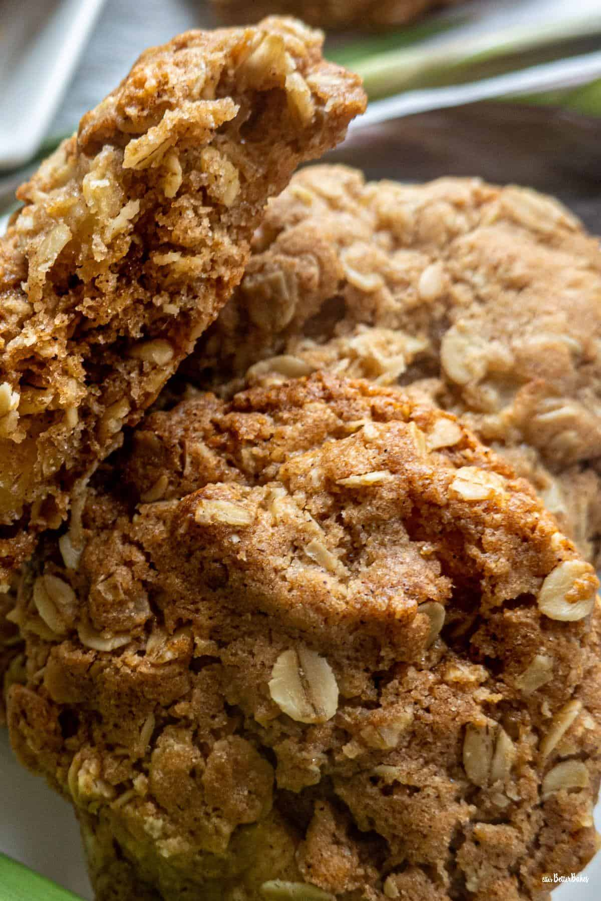close up of apple and oat cookies portrait