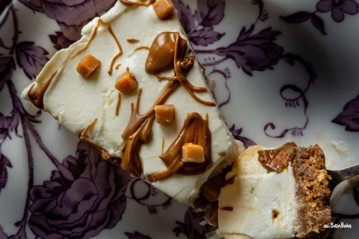 overview of slice of salted caramel cheesecake