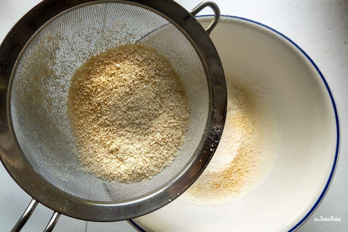 lmond flour being sieved