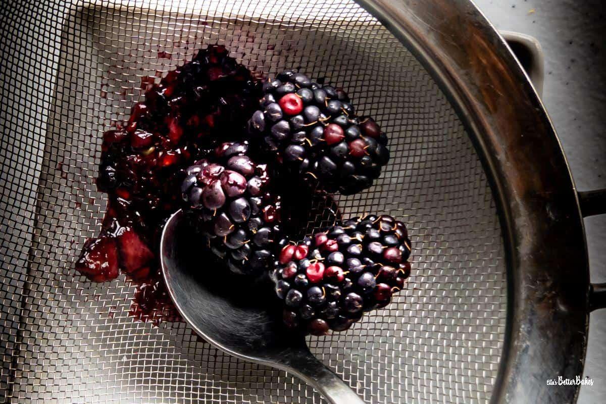 blackberries rubbed into juice