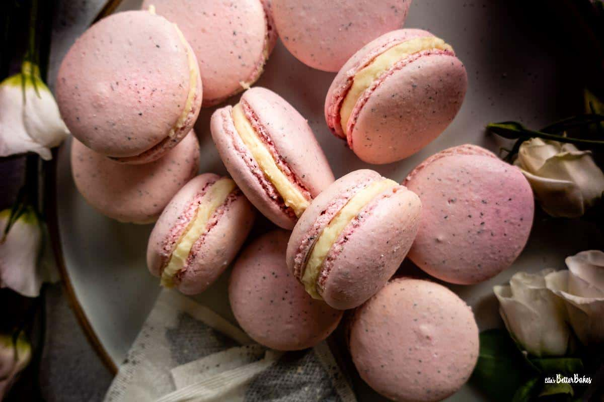 earl grey macarons surrounded by flowers