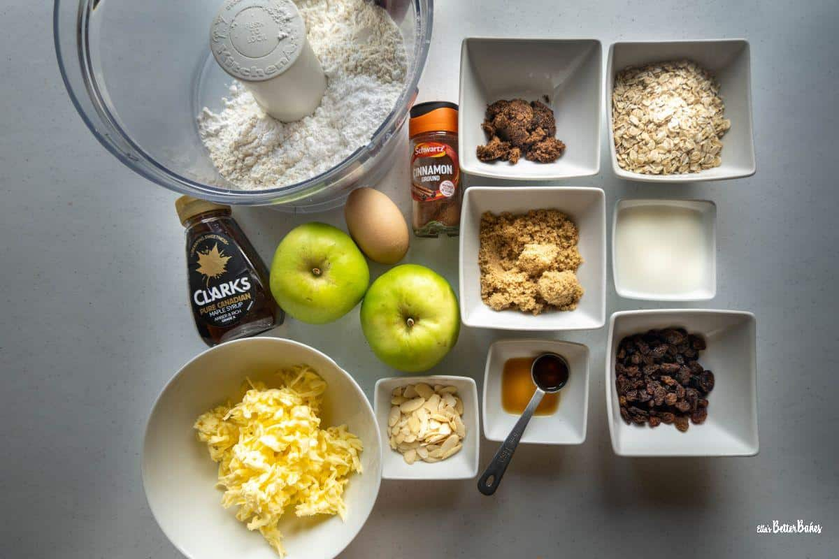 ingredients for apple crumble tartlets