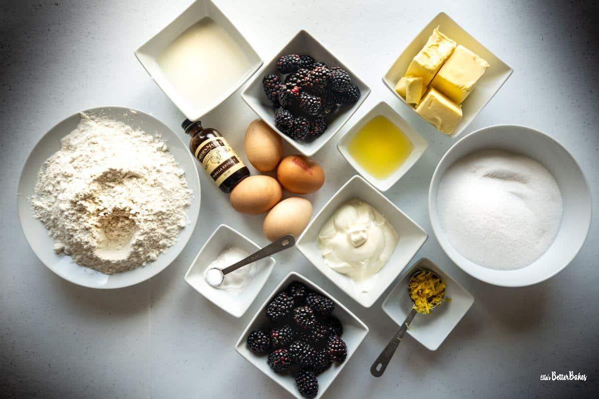 ingredients for lemon and blackberry cake