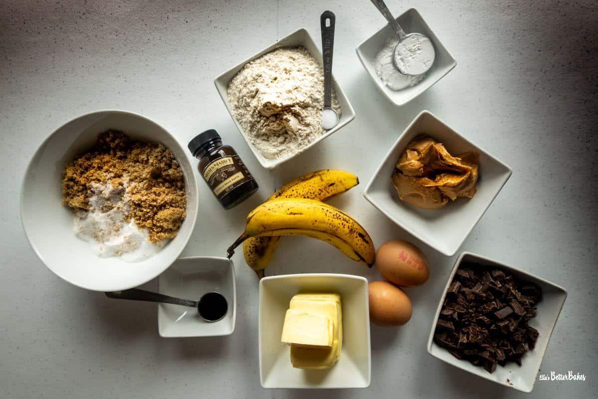 ingredients peanet and banana brownies