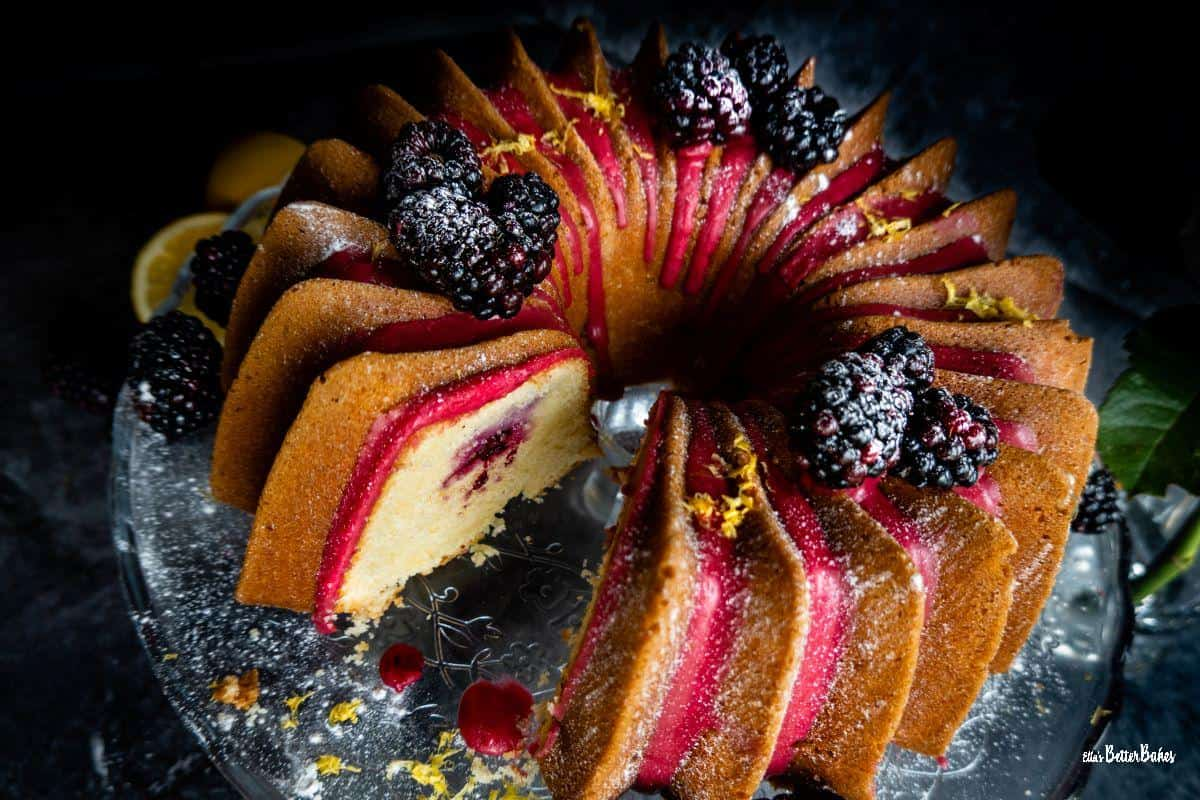 lemon and blackberry bundt cake on cake stand 2
