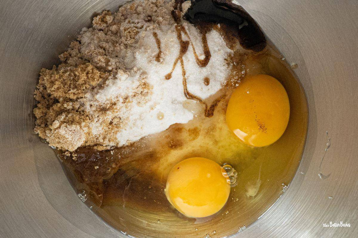 sugars, vanilla and eggs for brownies