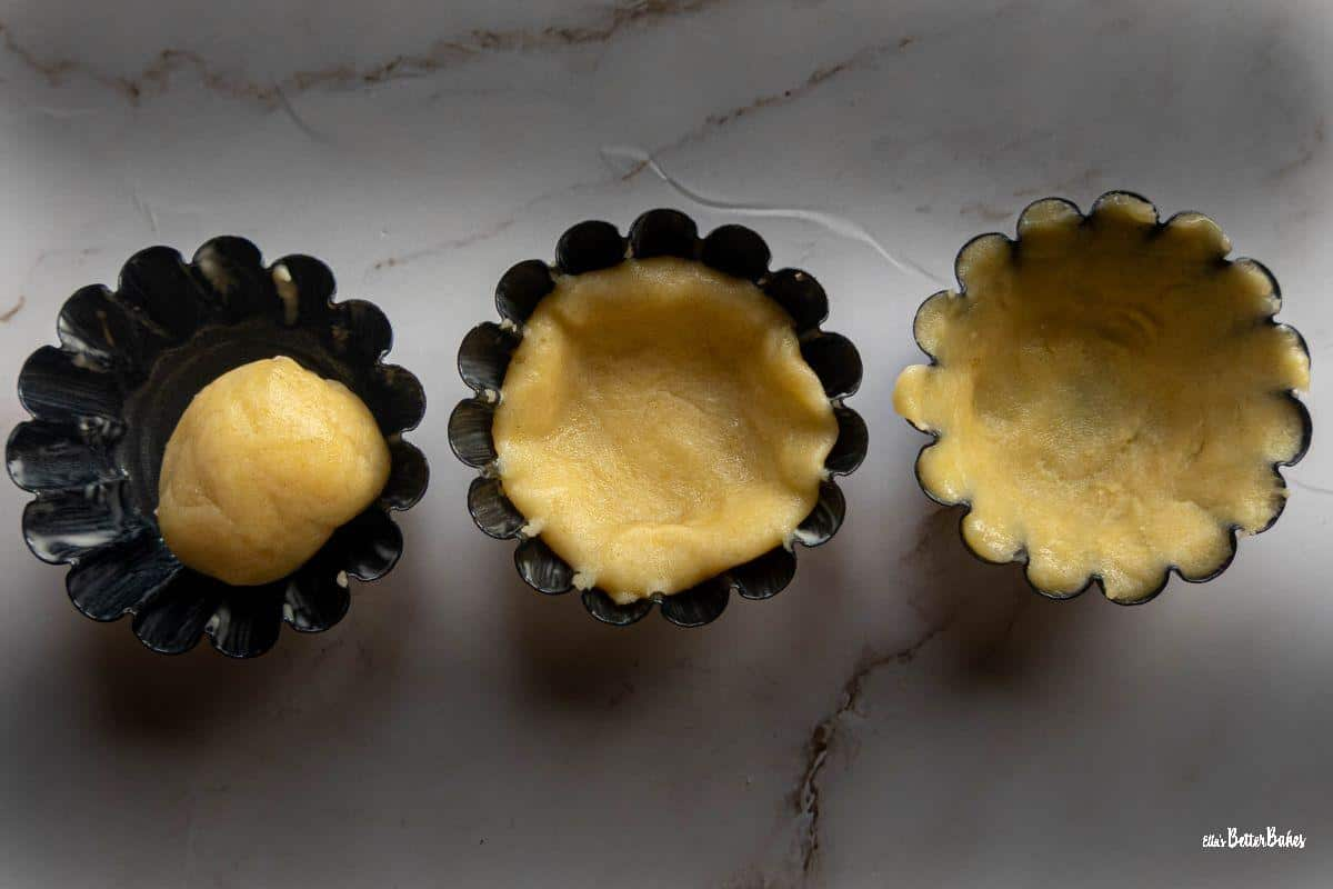 three tartlet cases showing how to fill with pastry