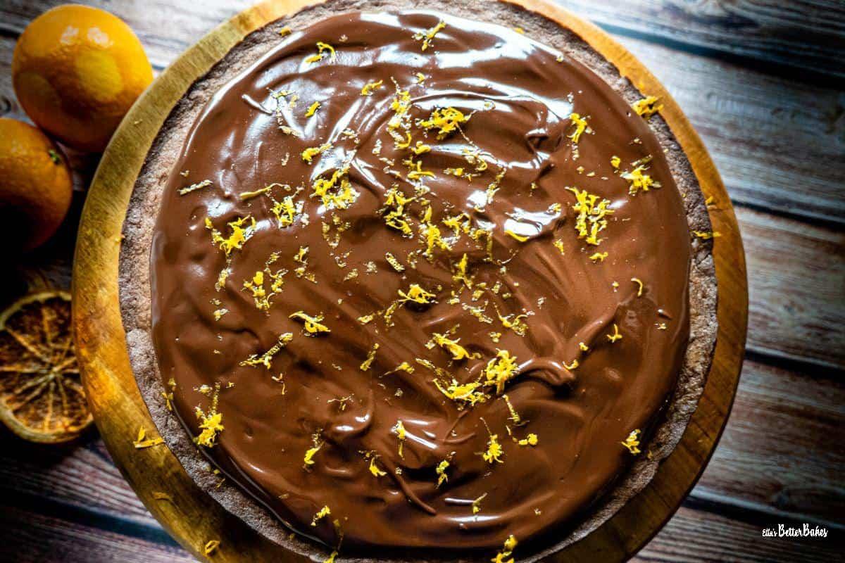 chocolate cake with orange overhead shot