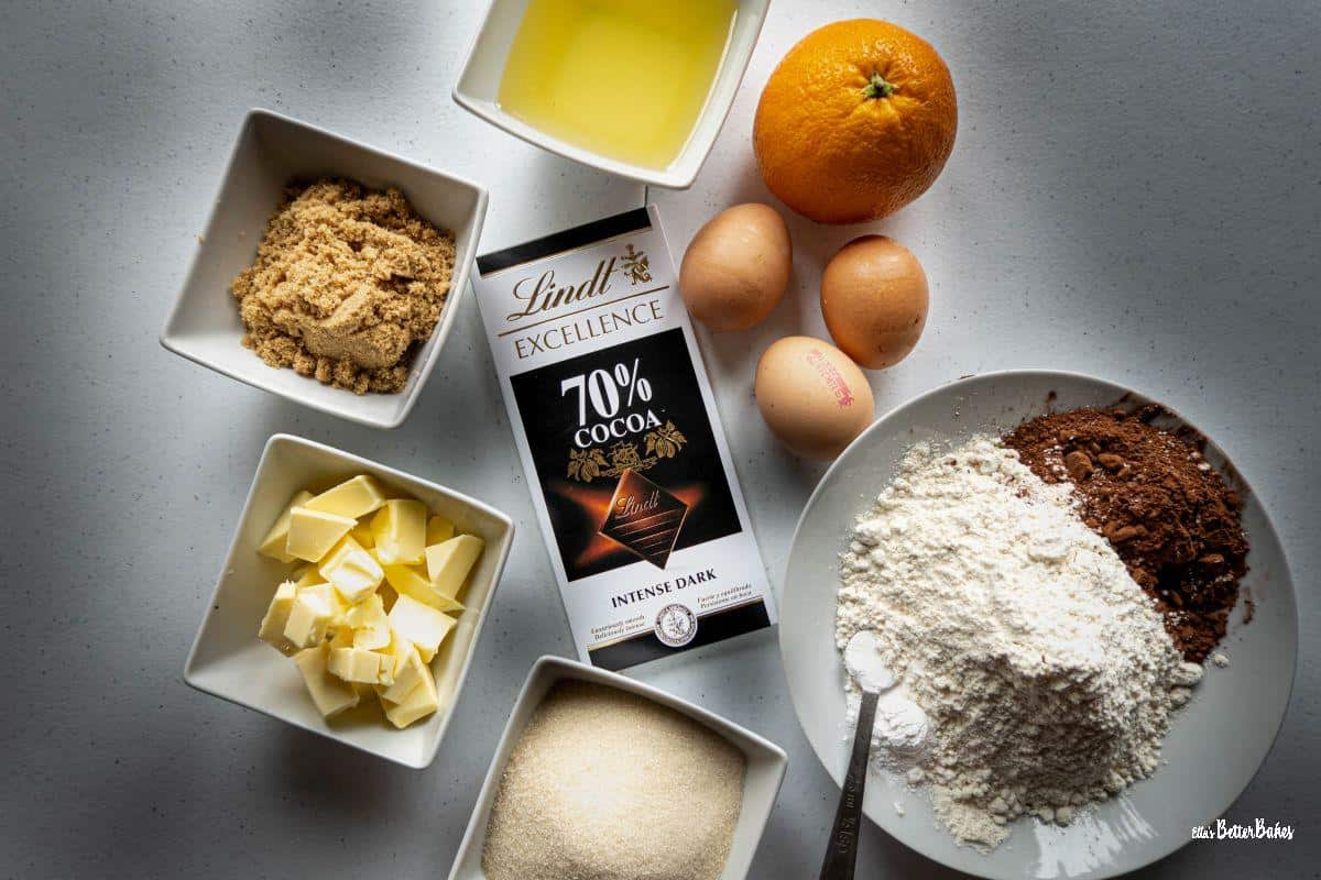 ingredients for chocolate cake with orange