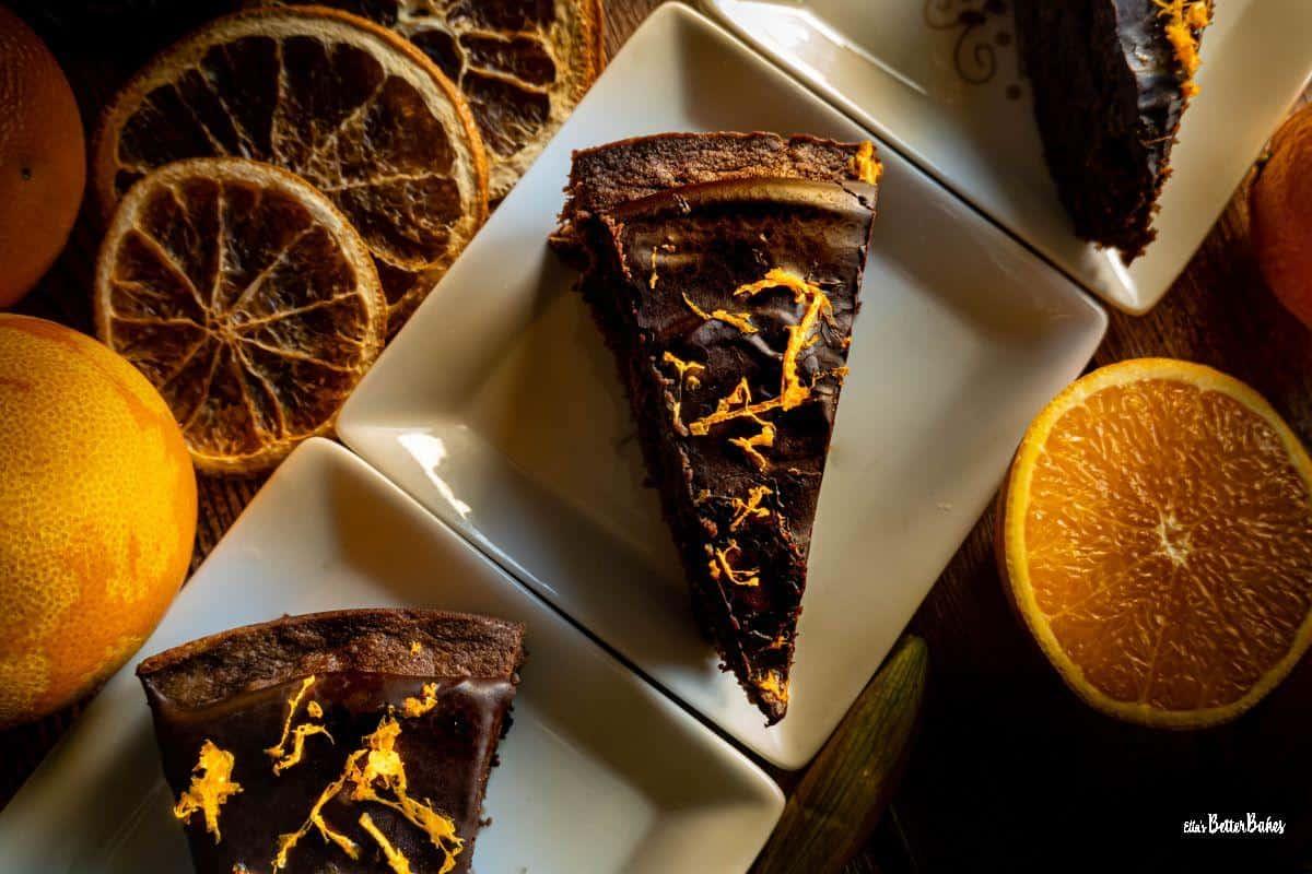 three slices of chocolate orange cake