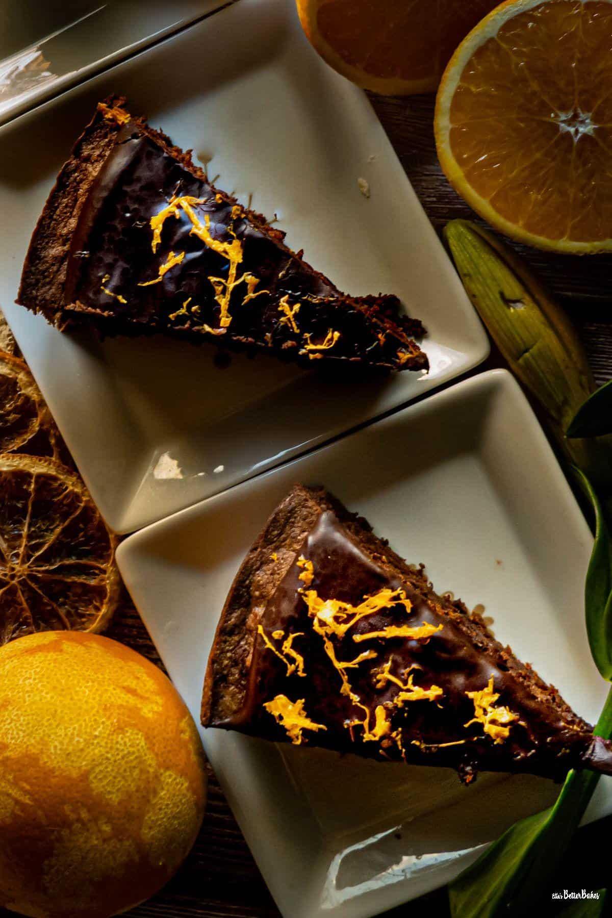 two slice of chocolate orange cake portrait size