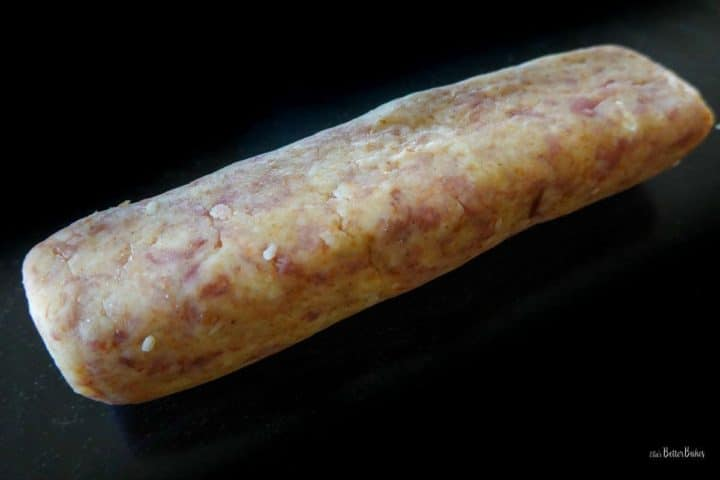 biscuit mix rolled out into a sausage shape