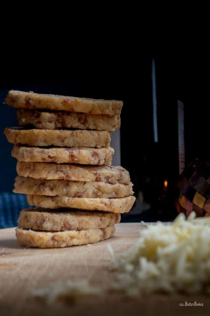 straight stack of cheese and ham biscuits